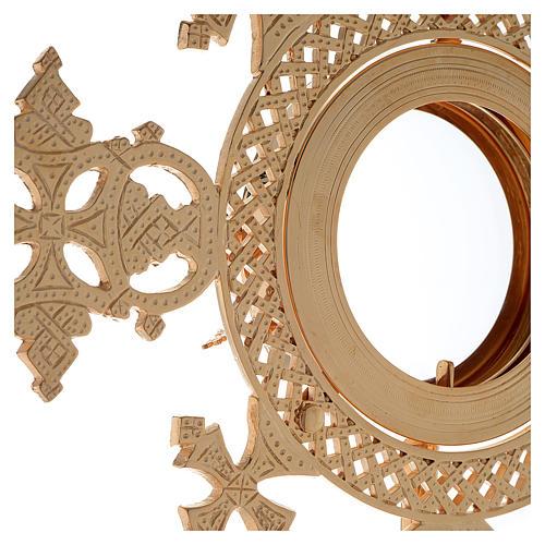 Reliquiario h 25 cm ottone dorato 8