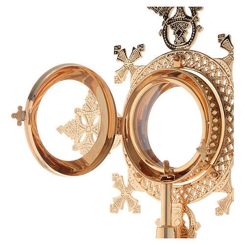 Reliquiario h 25 cm ottone dorato 10
