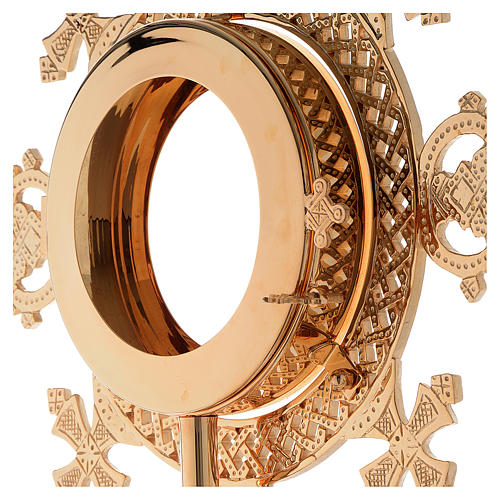 Reliquiario h 25 cm ottone dorato 11
