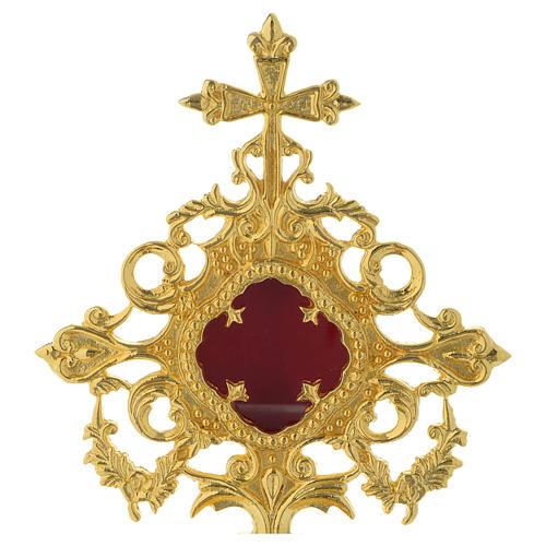 Reliquiario h 25 cm ottone dorato 2