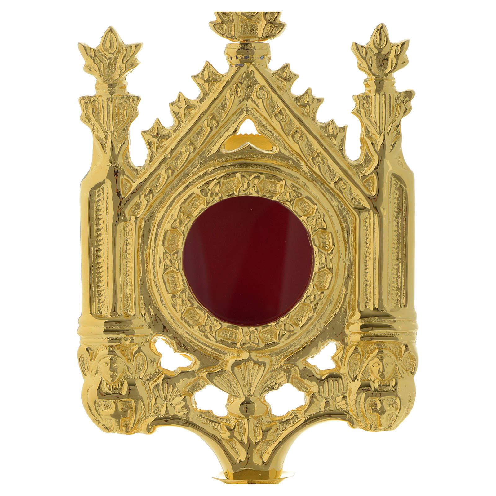 Reliquiario h 30 cm ottone dorato 4