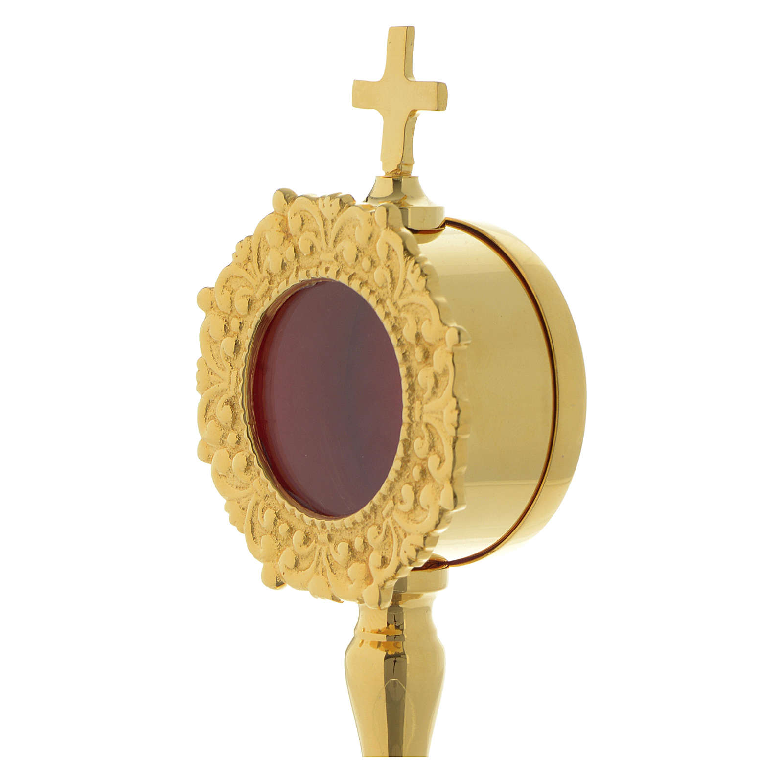 Reliquiario semplice h 20 cm ottone dorato 4