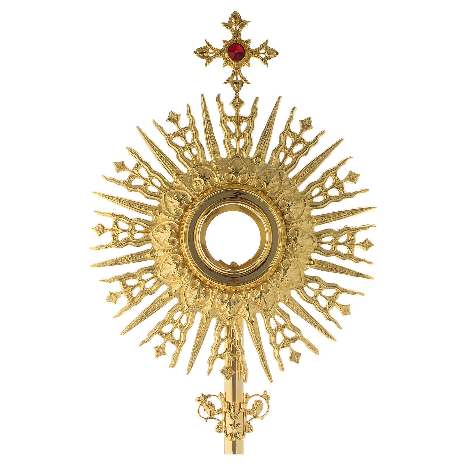 Ostensorio croce pietra rossa 70 cm ottone dorato 4