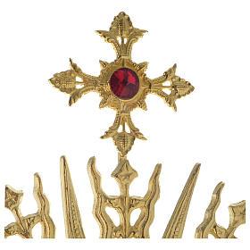 Ostensorio croce pietra rossa 70 cm ottone dorato s4