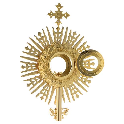 Ostensorio croce pietra rossa 70 cm ottone dorato 8