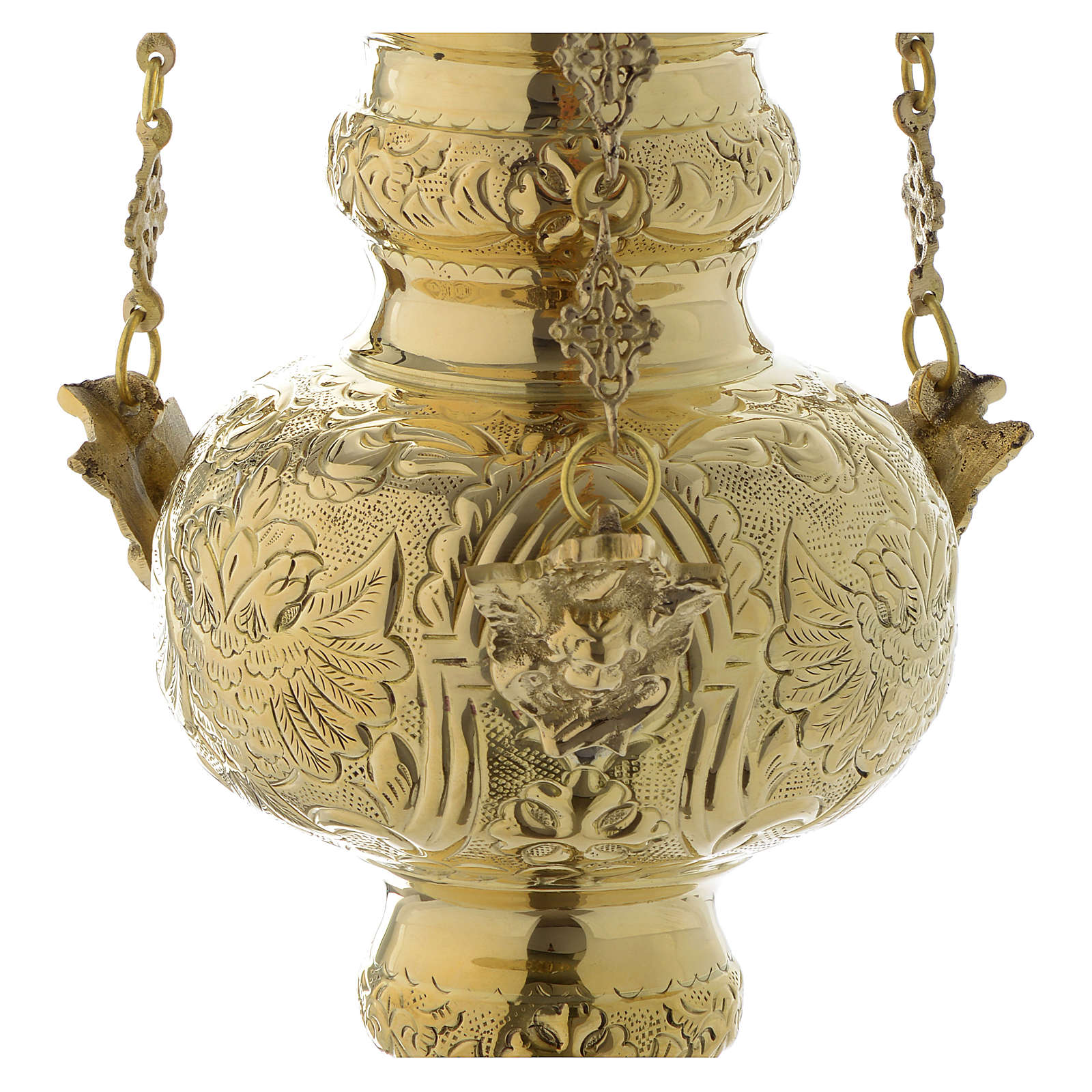 Hanging lamp in golden brass with leaves decoration 60 cm 3