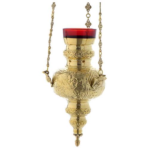 Lámpara en suspensión motivo hojas latón dorado 60 cm 2