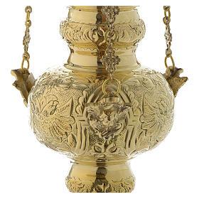 Lampada a sospensione motivo foglie ottone dorato 60 cm s3