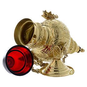 Lampada a sospensione motivo fogli ottone dorato 60 cm s5
