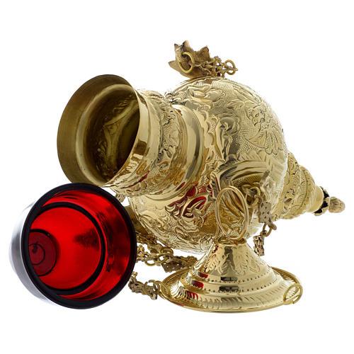 Lampada a sospensione motivo fogli ottone dorato 60 cm 5
