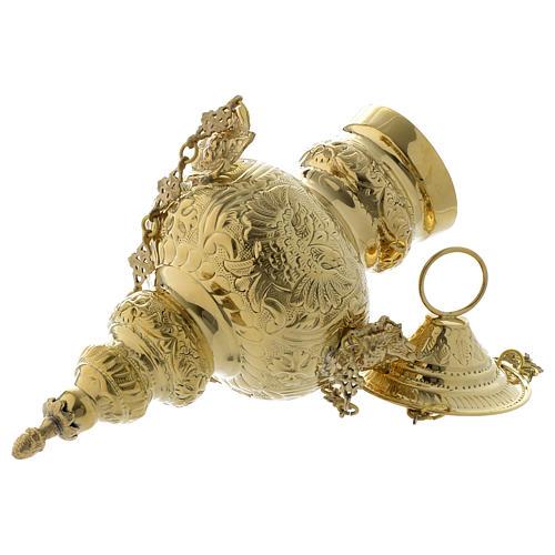 Lampada a sospensione motivo fogli ottone dorato 60 cm 6