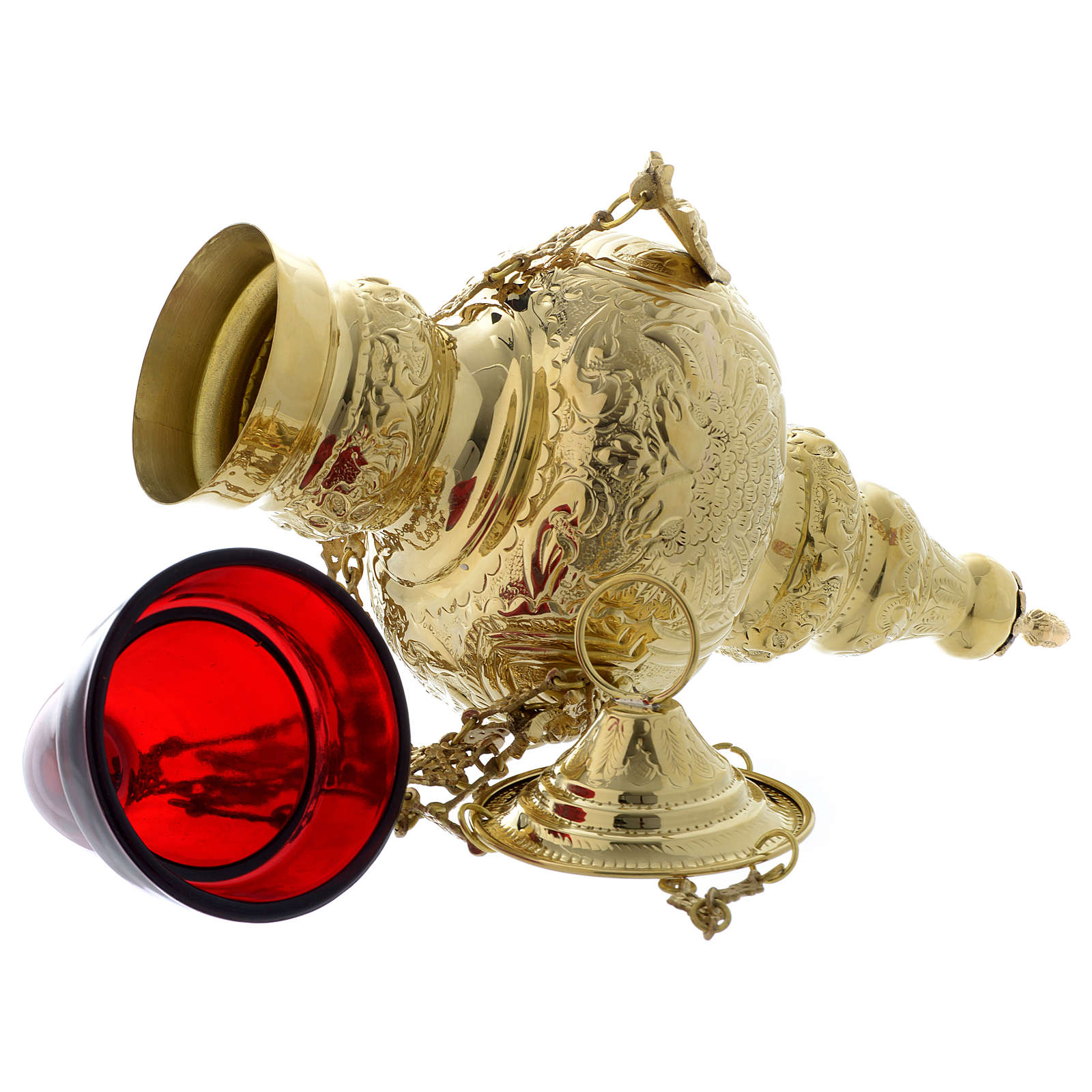 Lampada a sospensione motivo fogli ottone dorato 70 cm 4