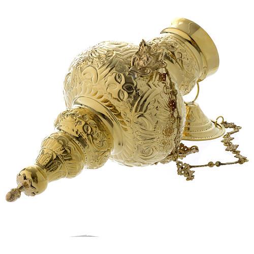 Lampada a sospensione motivo fogli ottone dorato 70 cm 6