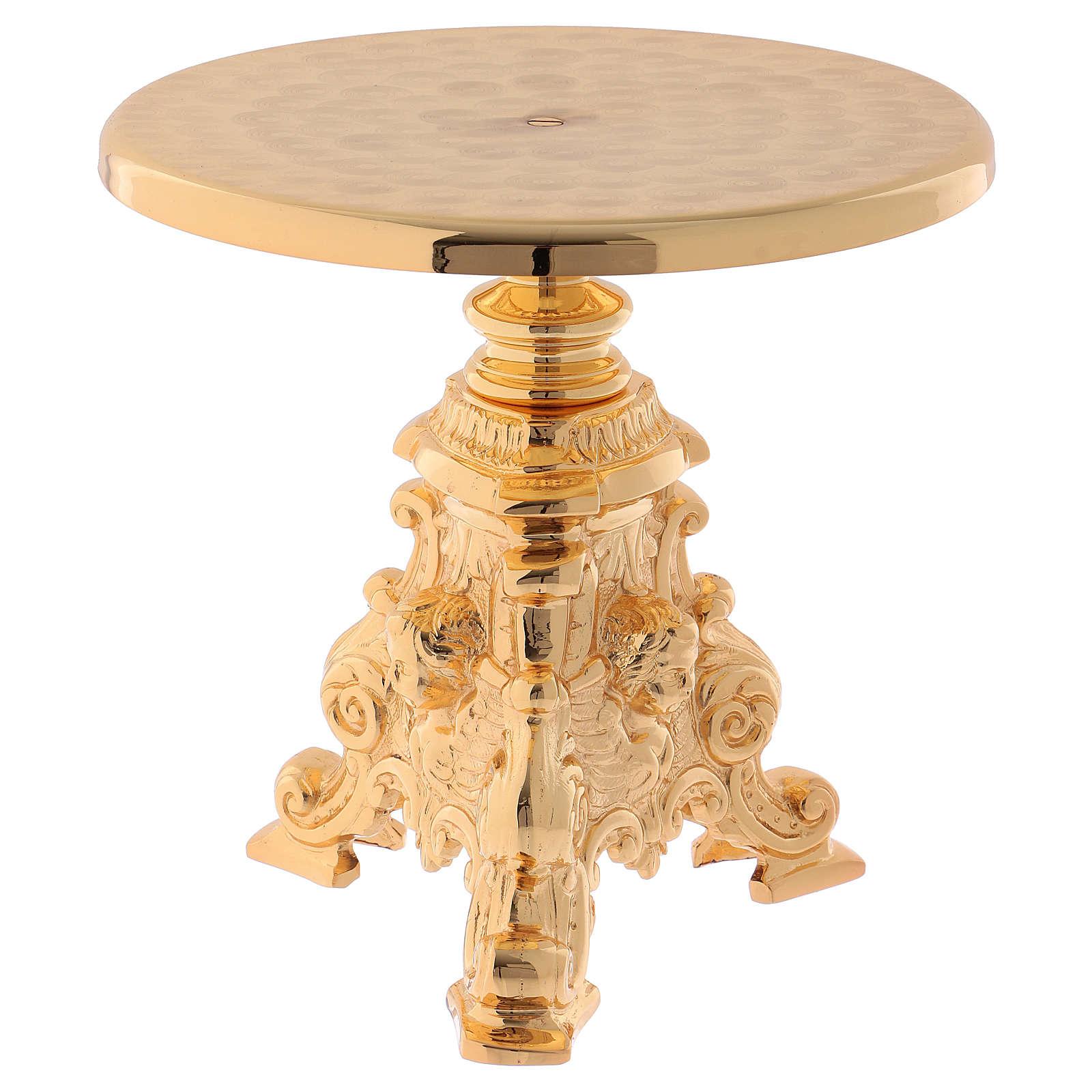 Support for monstrance in golden brass 23 cm - gold plating 24K 4