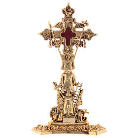 Reliquary in brass 23 cm, golden plated s1
