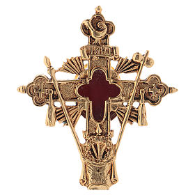 Reliquary in brass 23 cm, golden plated s2