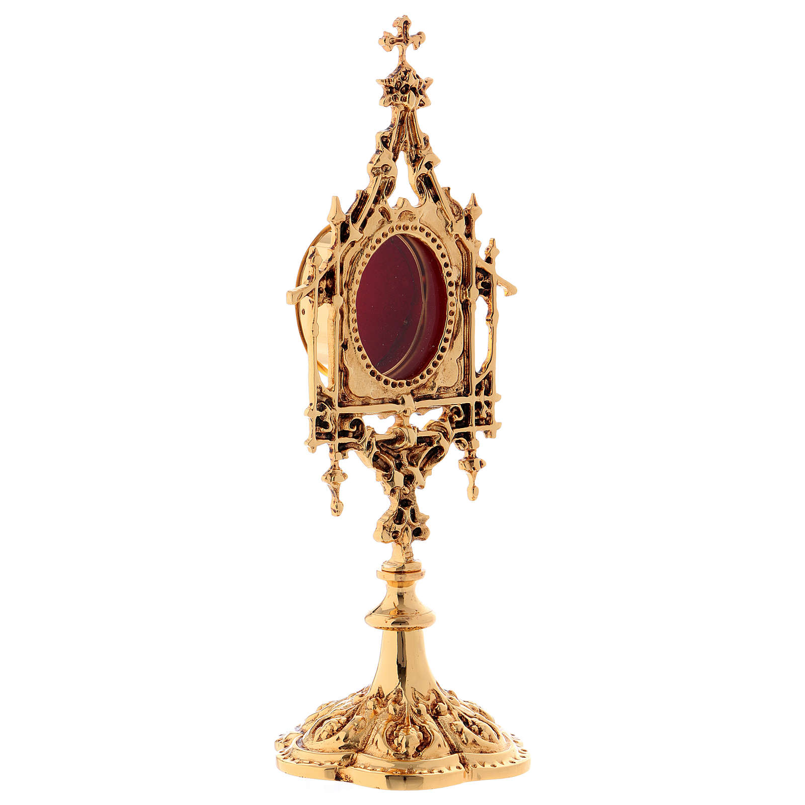 Reliquary in brass, baroque style 26 cm, golden plated 24k 4
