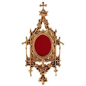 Reliquaire laiton baroque 26 cm bain or 24 K s2