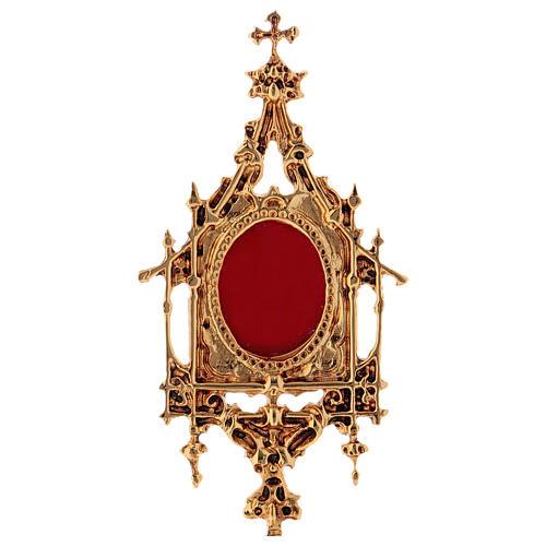 Reliquiario ottone barocco 26 cm - bagno oro 24 k 2