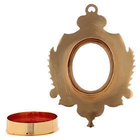 Reliquiario da parete ottone dorato e zirconi h 14 cm s4