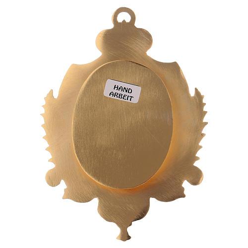 Reliquiario da parete ottone dorato e zirconi h 14 cm 3