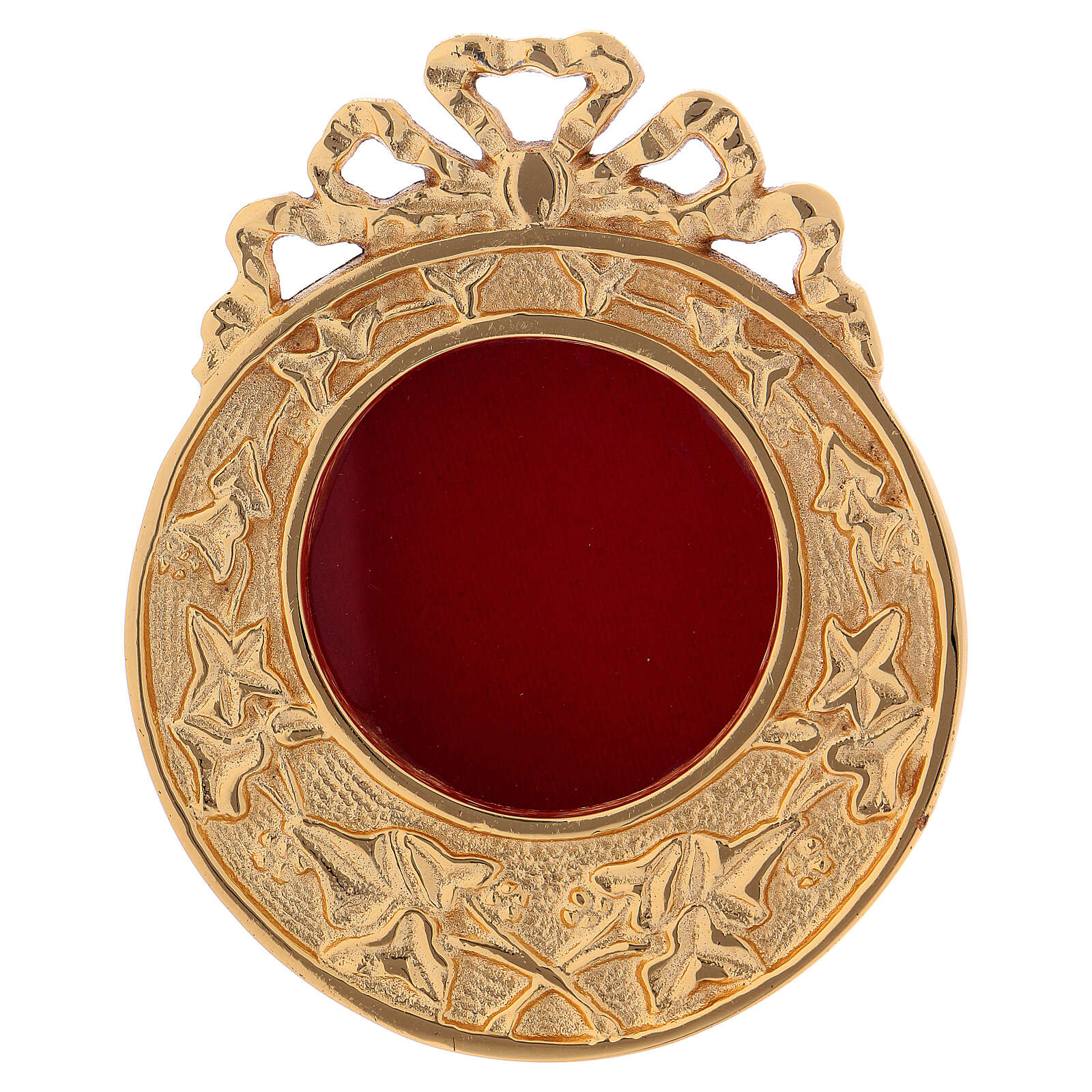 Wall-mounted round reliquary in gold plated brass h 4 1/4 in 4