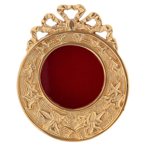 Wall-mounted round reliquary in gold plated brass h 4 1/4 in 1