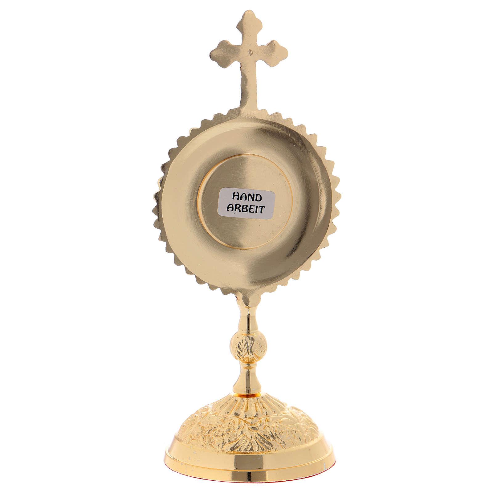 Reliquiario in ottone con base tonda e croce superiore 4