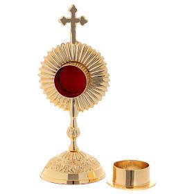 Reliquiario in ottone con base tonda e croce superiore s4