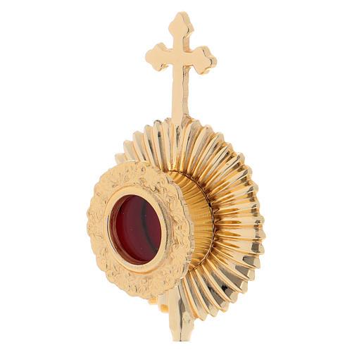 Reliquiario in ottone con base tonda e croce superiore 2