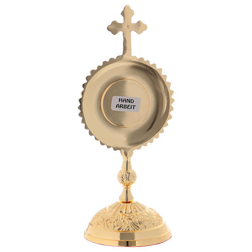Reliquiario in ottone con base tonda e croce superiore 5