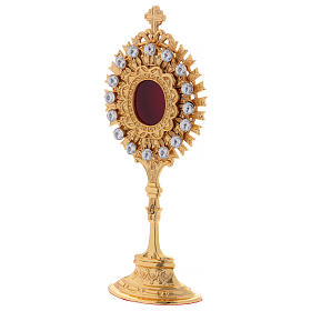 Reliquary in golden brass with white decorative gemstones s3
