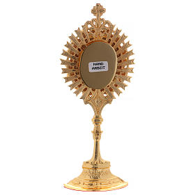 Reliquary in golden brass with white decorative gemstones s5