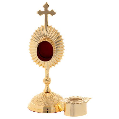 Reliquiario decorato ottone dorato 17 cm 3