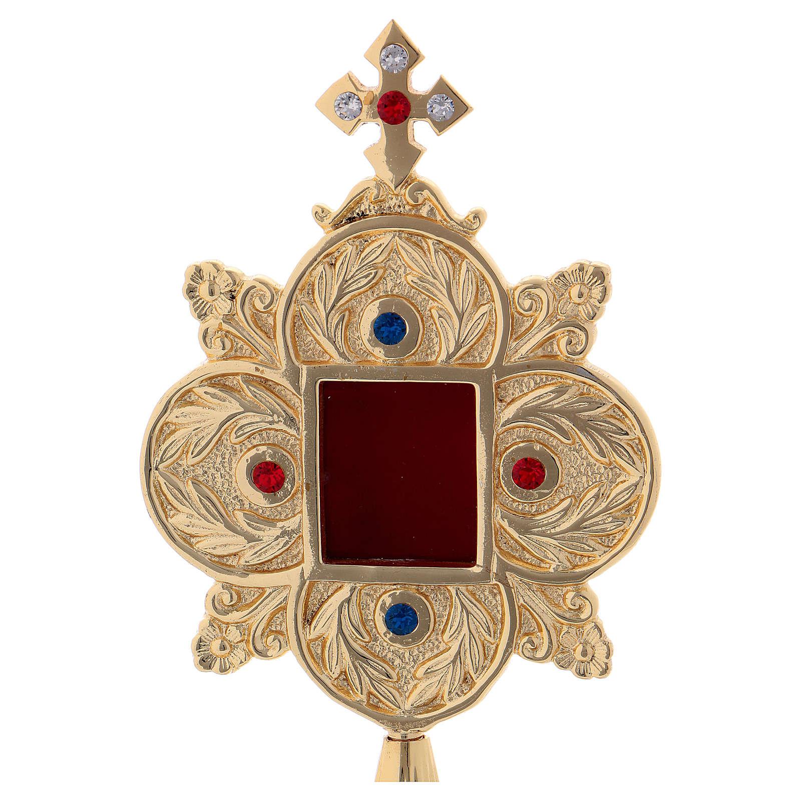 Reliquiario pietre colorate e oblò quadrato ottone dorato 4