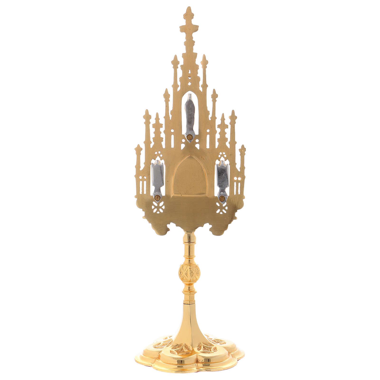 Reliquiario stile gotico ottone dorato 40 cm 4