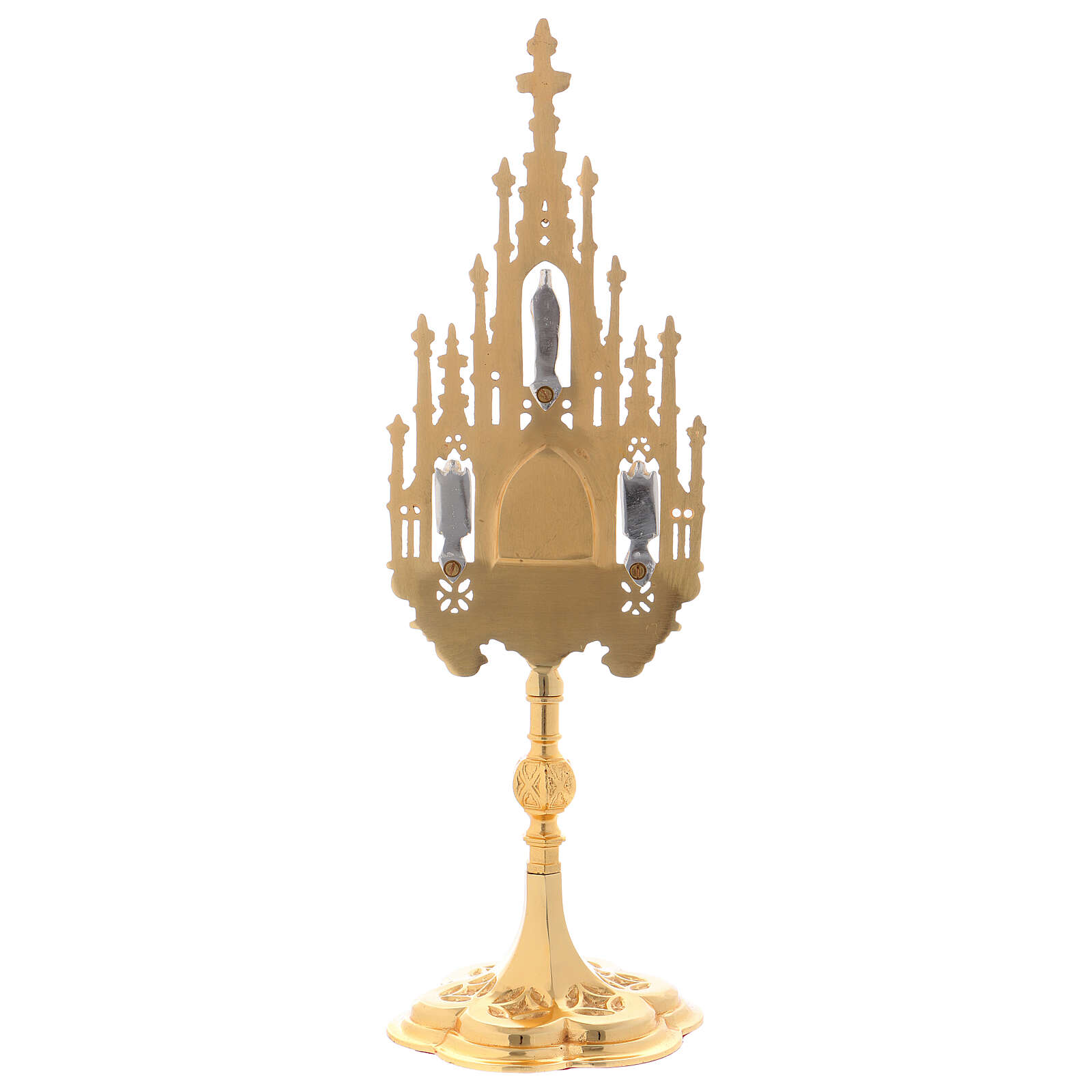 Gothic reliquary in gold plated brass 15 3/4 in 4