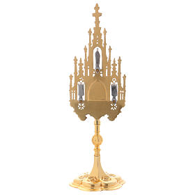 Gothic reliquary in gold plated brass 15 3/4 in s4