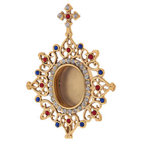 Reliquiario base triangolare ottone dorato e pietre colorate 25 cm s2