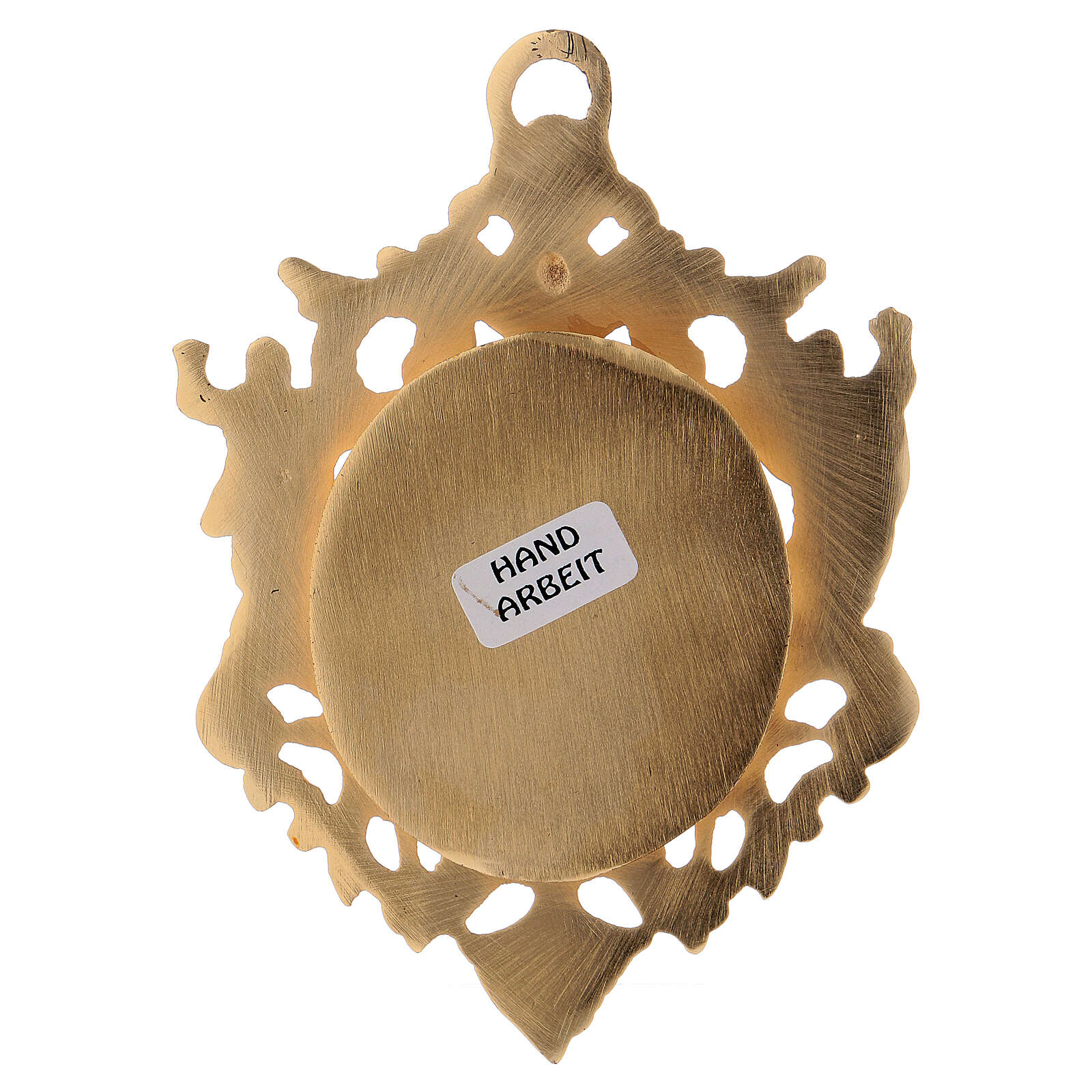 Wall-mounted gold plated brass reliquary with inlaies 4 3/4 in 4