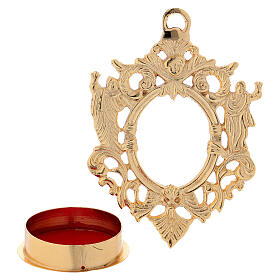 Wall-mounted gold plated brass reliquary with inlaies 4 3/4 in s2