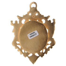 Wall-mounted gold plated brass reliquary with inlaies 4 3/4 in s3