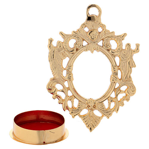 Wall-mounted gold plated brass reliquary with inlaies 4 3/4 in 2