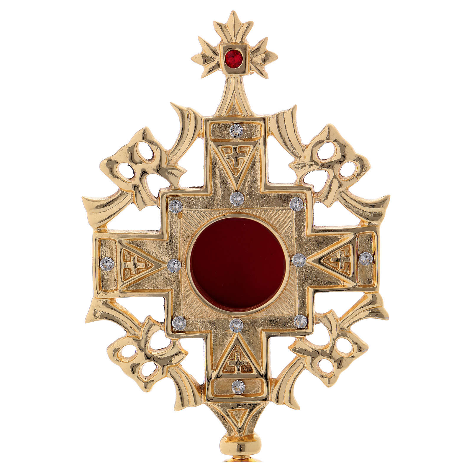 Relicario con zircones blancos y rojos latón dorado 25 cm 4