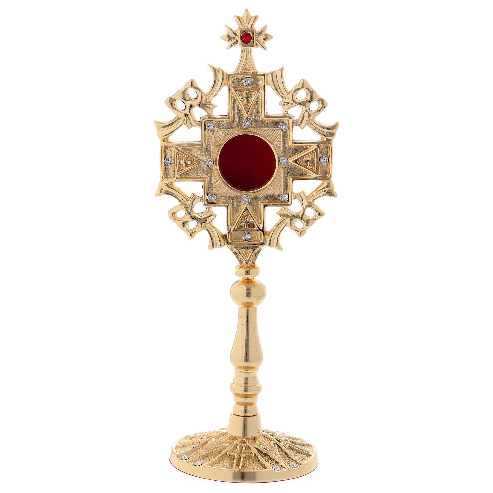 Reliquiario con zirconi bianchi e rossi ottone dorato 25 cm 4
