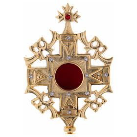 Reliquiario con zirconi bianchi e rossi ottone dorato 25 cm s2