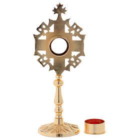 Reliquiario con zirconi bianchi e rossi ottone dorato 25 cm s6