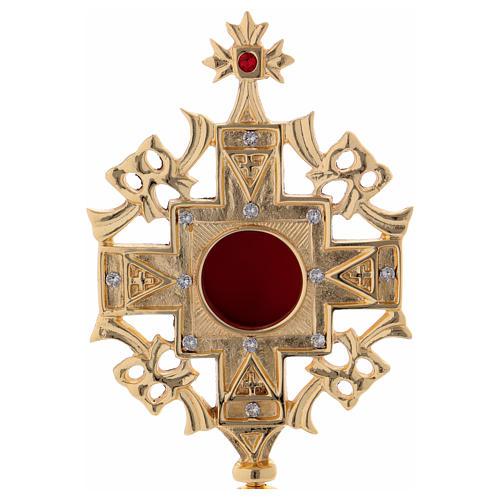 Reliquiario con zirconi bianchi e rossi ottone dorato 25 cm 2