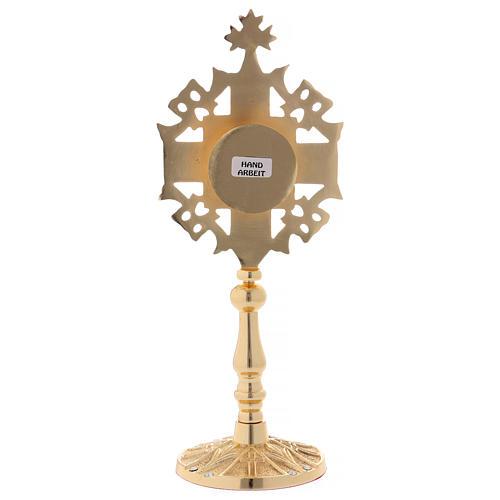 Reliquiario con zirconi bianchi e rossi ottone dorato 25 cm 5