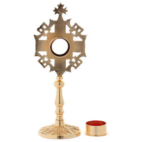Reliquiario con zirconi bianchi e rossi ottone dorato 25 cm 6